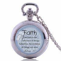 FAITH HEBREWS 11 1 Pocket Watch Necklace Bible Quote Jewelry Scripture Pendant Faith Necklace Christian Gift
