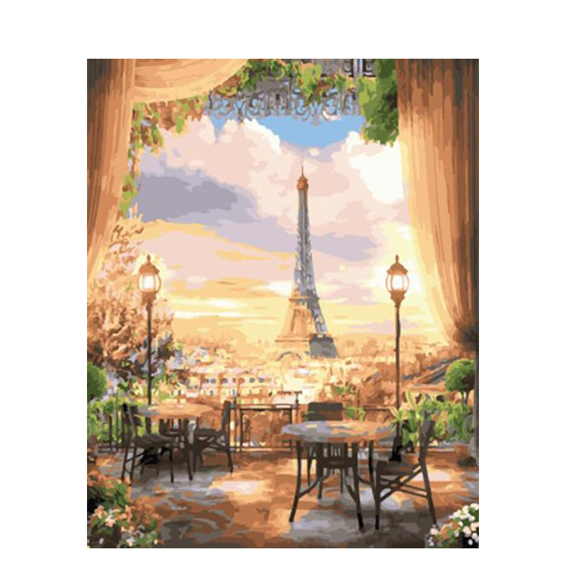 DIY Sunset Landscape Oil Painting By Numbers 3D Pictures Linen Canvas Painting For Living Room Wall Art Home Decor