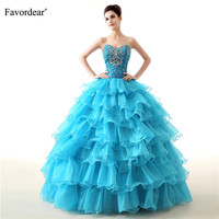 Favordear Tiered Sparkly Beading Long Ball Gowns Vestidos De Flowers Quinceanera Lace Up Back Sweetheart Quinceanera Dress