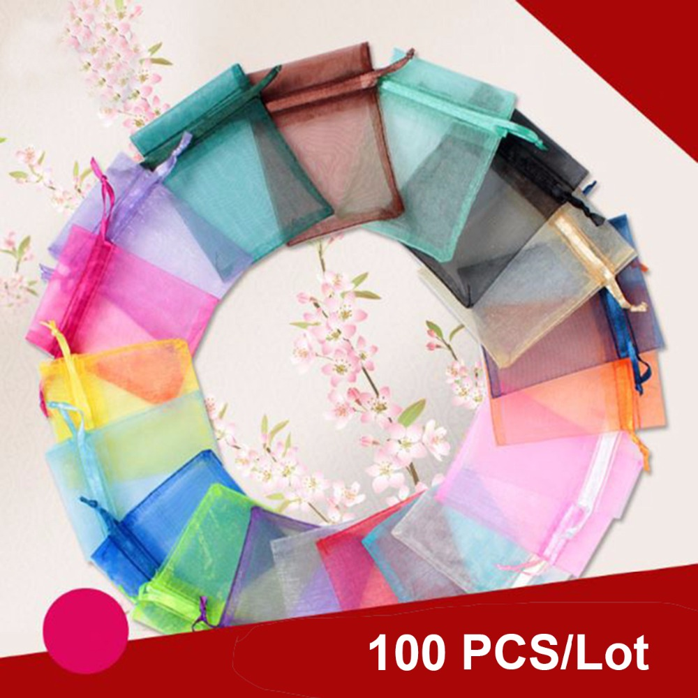 100pcs jewelry gift bag organza bags packaging transparent party Drawable Wedding Pouches present jewel candy thank you 7x9 9x12(China)