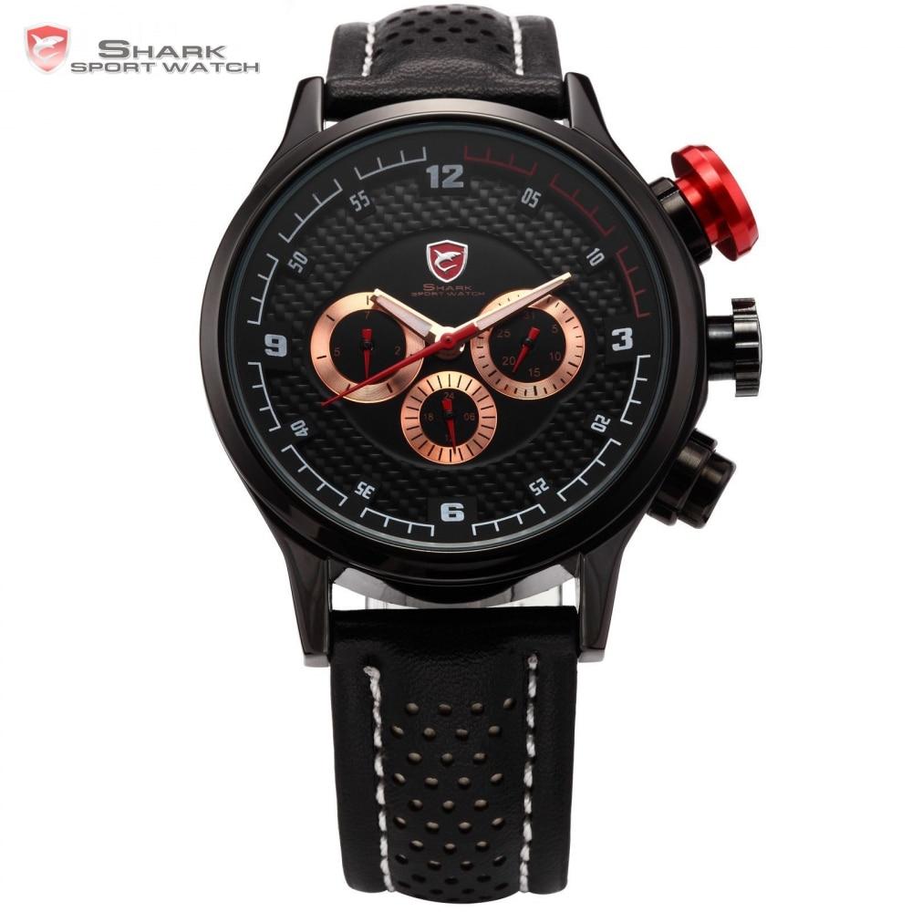 Longfin SHARK Sport Watch Date Day Stainless Steel Dashboard Relojes De Marca Black Golden Quartz Men