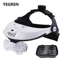 Illuminated Helmet Magnifier 2 LED Headband Magnifying Glasses f/ Antique Appreciation Stamp Collection 1X 1.5X 2X 2.5X 3.5X