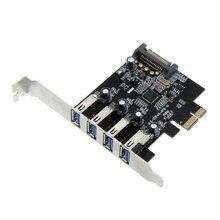 4-портовый SuperSpeed USB 3.0 PCI Express Контроллер Карты Адаптер 15-контактный SATA Разъем Питания Низкий Профиль