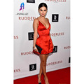 Sexy V Neck Spaghetti Strap Red Celebrity Inspired Dresses Satin Short Mini A-Line Selena Gomez Red Carpet Dresses Custom Made