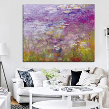 Claude Monet Lotus Landscape Oil Painting on Canvas Art Impressionist Wall Picture Canvas Poster for Sofa Living Room claude monet impressionist the windmill on the onbekende canal amsterdam photo printed canvas oil painting home wall art gift