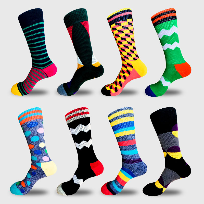 Men New hiphop cotton socks fashion hit color stripe skateboard socks casual lattice wil ...