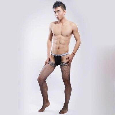 2017 Hot! masculino transparente meias sexy leopardo malha stocking Meias homens meias cueca gay dos homens meias meias de rede