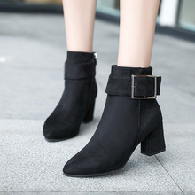Autumn Winter Women Boots Riding Boots Ankle High-heel Shoes Woman Pointed Short Boots Fashion Zip Non-slip Elegant Women Shoes xgvokh women short boots autumn winter genuine leather fashion high quality ankle boots zip women s black shoes