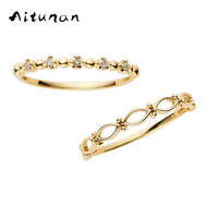 Aitunan 925 Sterling Silver Crystal Rings Minimalist Stackable Ring Set Zircon Thin Gold Color Stacking Ring