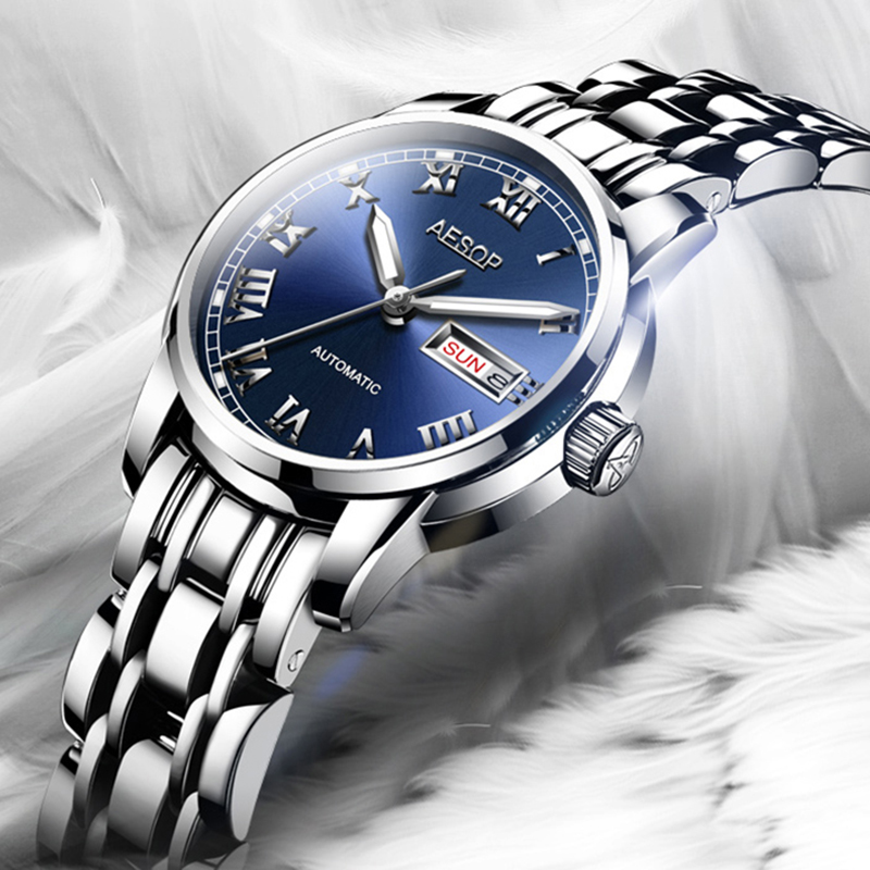 Luxury watch women Stainless steel Automatic mechanical Sapphire waterproof silver watch Relojes Mujer