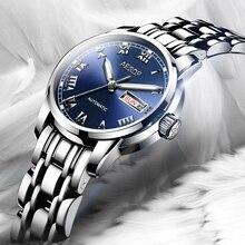 Роскошные женские часы Из Нержавеющей стали Автоматические механические Сапфир водонепроницаемый серебряные часы Relojes Mujer
