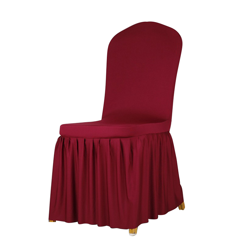 Home Wine Red Chair Cover Polyester Spandex Dining Covers For Wedding Party Pleated