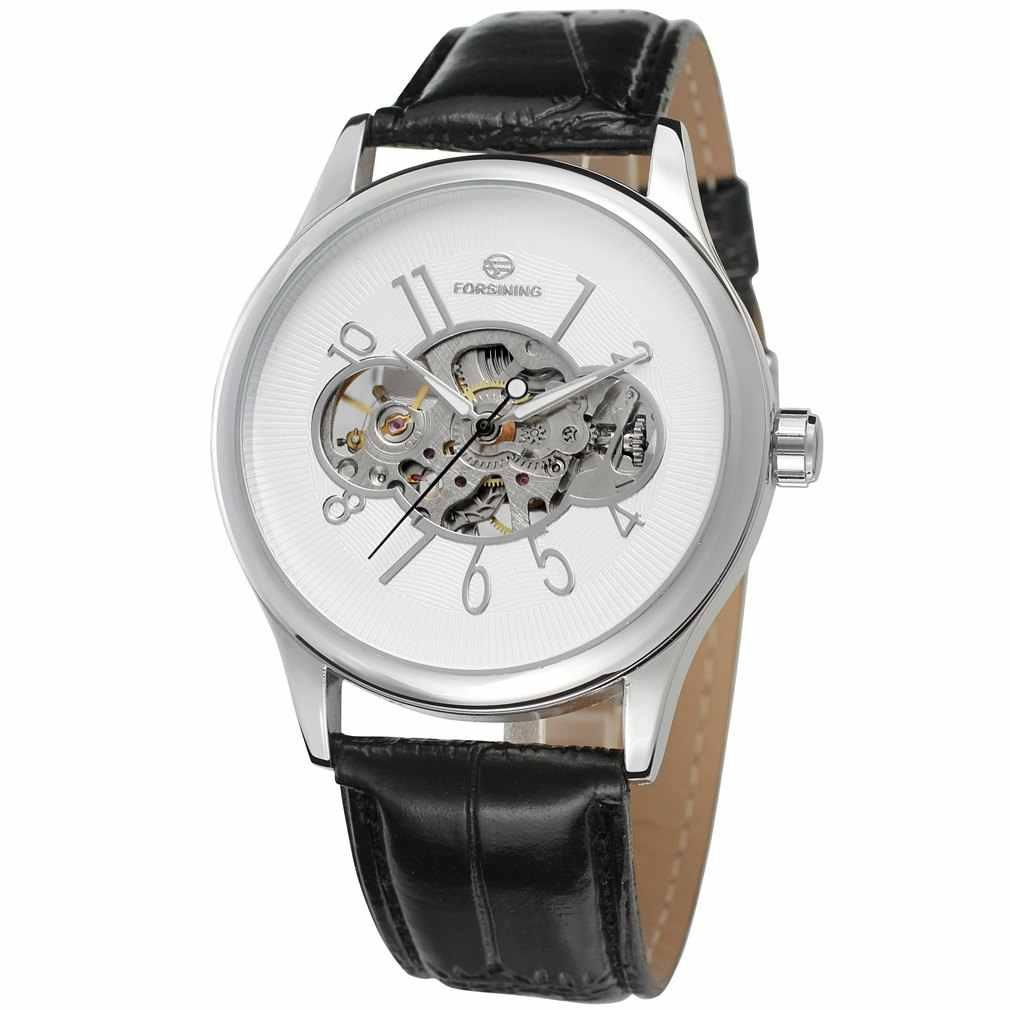 ساعة يد رجالي آلية موديل 2018 مزودة بهيكل متين ساعة يد من الجلد الأسود مع شحن مجاني طراز جديد وهدية جيدة