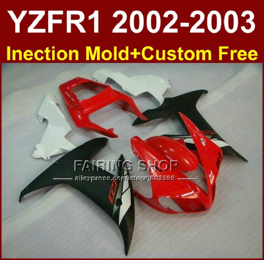 Red black bodyworks for YAMAHA YZF1000 02 03 custom fairings YZF R1 2002 2003 yzf r1 body parts Aftermarket +7gifts запчасти для мотоциклов yamaha yzf1000 02 03 r1