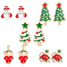 New Unisex Christmas Tree Snow Man Hat Shoes Ear Studs Rhinestone Jewelry Earrings 22(China)