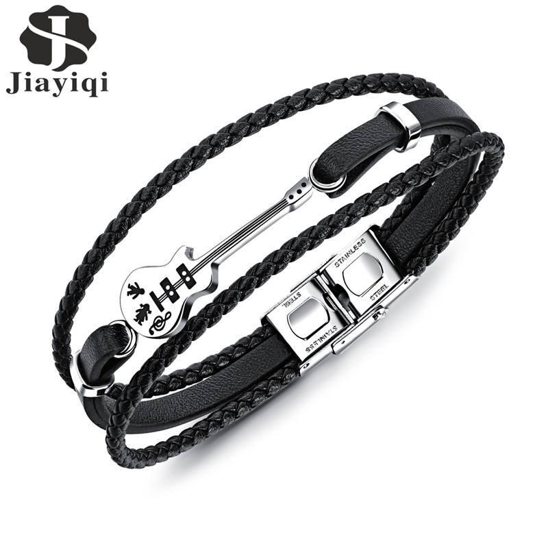 Jiayiqi Fashion Guitar Bracelet Black Leather Bracelet Braided Rope Multi Layer Stainless Steel Bangle for Men Jewelry Punk 21cm stylish faux leather layered braided bracelet for men