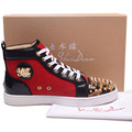 Top Band Designer High Quality Handmade Fashion High Top Men Casual Shoes Chaussure Homme Gold Rivet Leopard Red Bottom Flats