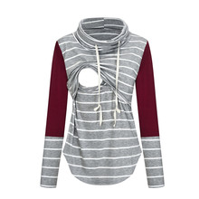 Women Pregnant Clothes Nusring Maternity Long Sleeve Tops Splicing Stripe Blouse Tops Breastfeeding Pregnancy Womens Clothing z8