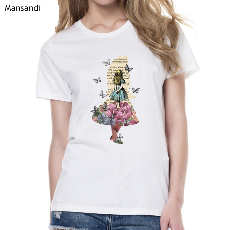 Alice Princess In Wonderland Watercolor T Shirt Women Harajuku Tumblr Clothes White Tshirt Femme Camiseta Mujer Female T-shirt