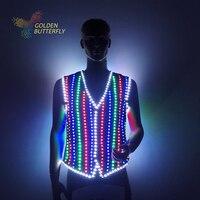 Светодиодный Костюмы светящиеся костюмы светящиеся жилет светодиодный костюмы Новинка 2017 модная одежда show Для мужчин аккумулятора светод