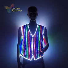 LED Clothing Luminous Costumes Glowing Vest LED Suits 2016 new Fashion Clothes Show Men battery led costume Dance
