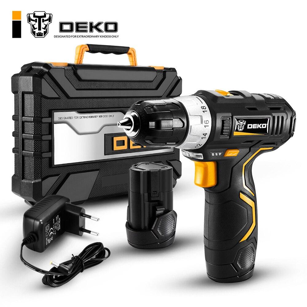 DEKO GCD12DU3 12 V Max tournevis électrique perceuse sans fil Mini pilote d'alimentation sans fil DC batterie Lithium-Ion 3/8 pouces 2 vitesses