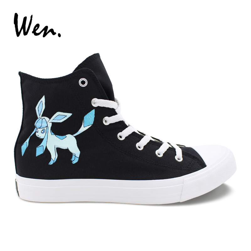 Wen Black Hand Painted Custom Shoes Design Cartoon Anime Pokemon Go Glaceon High Top Men Womens Canvas Shoes Athletic Sneakers Wen Black Hand Painted Custom Shoes Design Cartoon Anime Pokemon Go Glaceon High Top Men Womens Canvas Shoes Athletic Sneakers