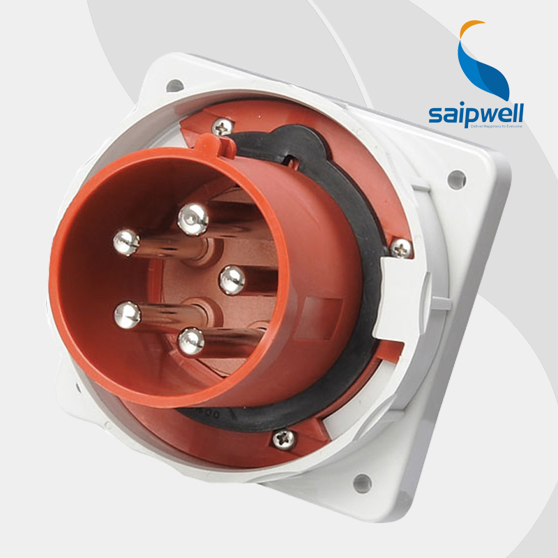 125A 400V 5P (3P+N+E) connector industrial waterproof socket wall mounted Splash Proof IP67 EN / IEC 60309-2 type SP1983