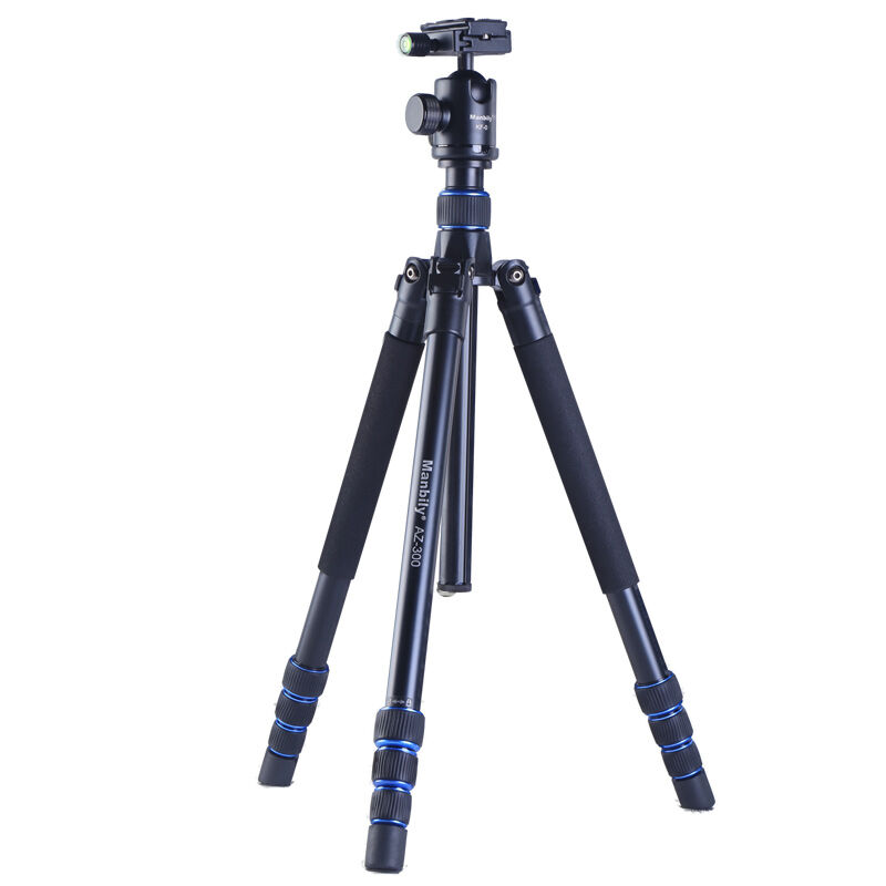 Manbily AZ300 Magnalium Alloy Professional Tripod For DSLR Camera Compact Travel Tripod Monopod With KF-0 Ball Head QR Plate SLR load 15kg manbily cz 302 5 sections carbon fiber walking stick video monopod tripod with kf 0 ball head for dslr camera