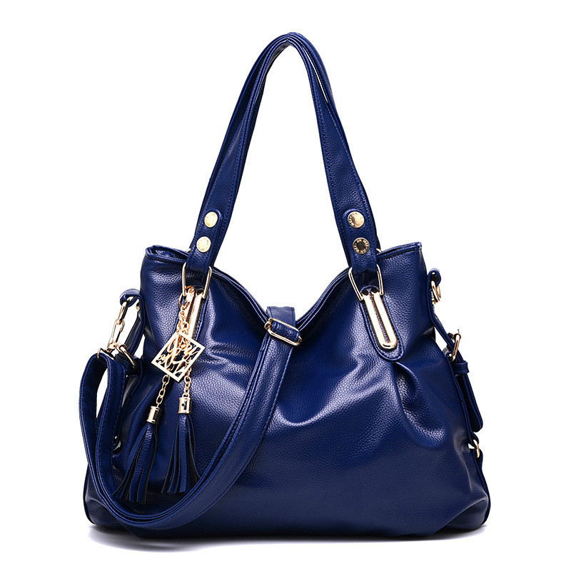New Female Bags Classic Concise Leisure Office Lady Fashion Shoulder Bag Solid Color Navy Blue Black Brown Hot Pink Rose Handbag