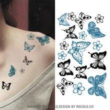 HC1003 Colored Butterfly Design Fake Tatoo Waterproof Women Body Art Painting Tattoo Stickers Sexy Temporary Tattoo Sticker