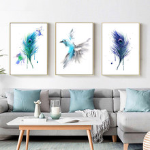 Watercolor Feather Canvas Painting Bird Abstract Posters And Prints Nordic Poster Decorative Picture Home Decor Unframed
