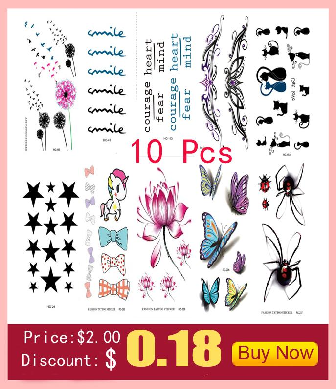 10 PCS Temporary Tattoo Stickers Temporary Body Art Supermodel Stencil Designs Waterproof Letters Gun Tattoo sleeve Pattern Cat 3