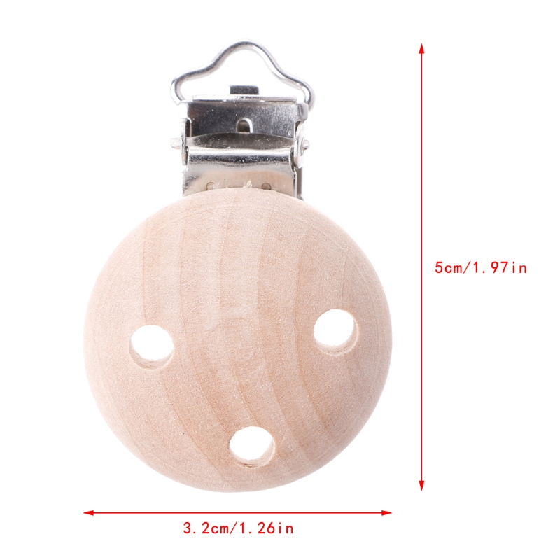 Wooden Baby Round Pacifier Suspender Clips Soother Dummy Nipples Holder 3 Holes