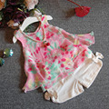 2017 summer new children's clothing girls fashion flower chiffon halter top + plus bow shorts suit girl suit