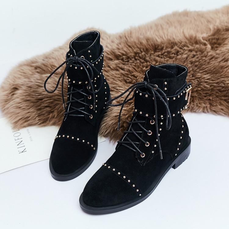 Cool British European Style Winter Ankle Boots For Women Black Suede Upper With Gold Rivets Cross Tied Ankle Belt Buckle Shoes
