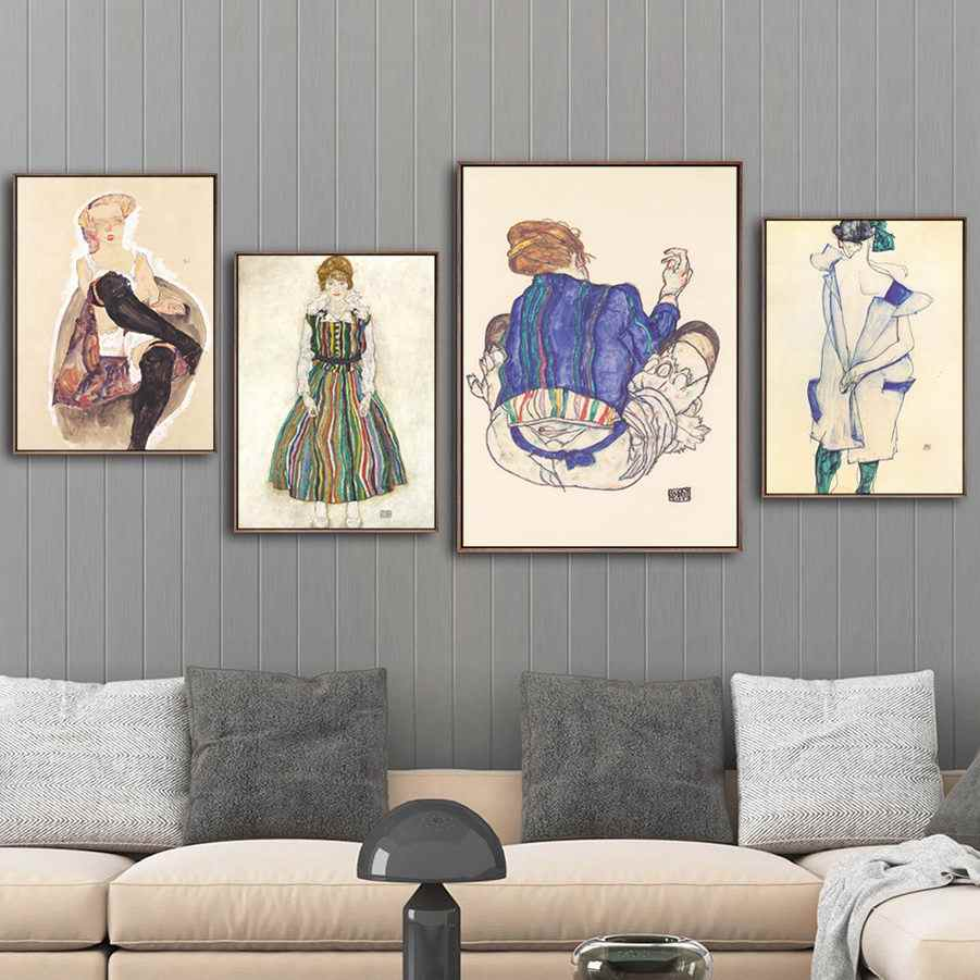 Home Decor Painting Wall Art Prints Canvas Austrian Egon Schiele Pictures Modular Watercolor Nordic Style Poster For Living Room