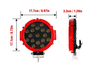 """Image 4 - OKEEN 7"""" off road led light bar 51W LED Work Lights Spot/Flood 2.2in thinkness good cooling surface for Offroad 4WD Tractor"""