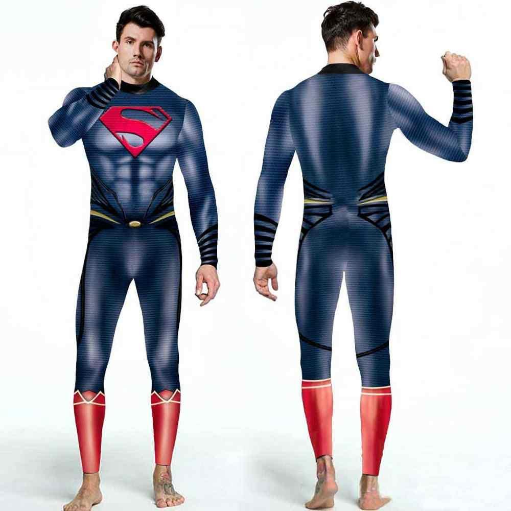 VIP אופנה חדש קוספליי תחפושות נשים Deluxe שרירים קוספליי בגד גוף סופר גיבור סופרמן 3D קומיקס מודפס סרבל