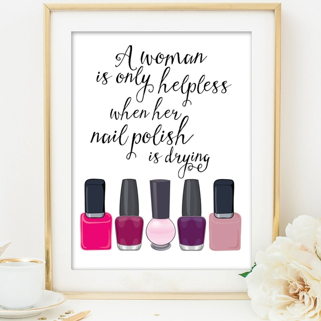 Lankshear Makeup Canvas Art Prints Nail Polish Poster Painting Wall Pictures Dressing Room Decor