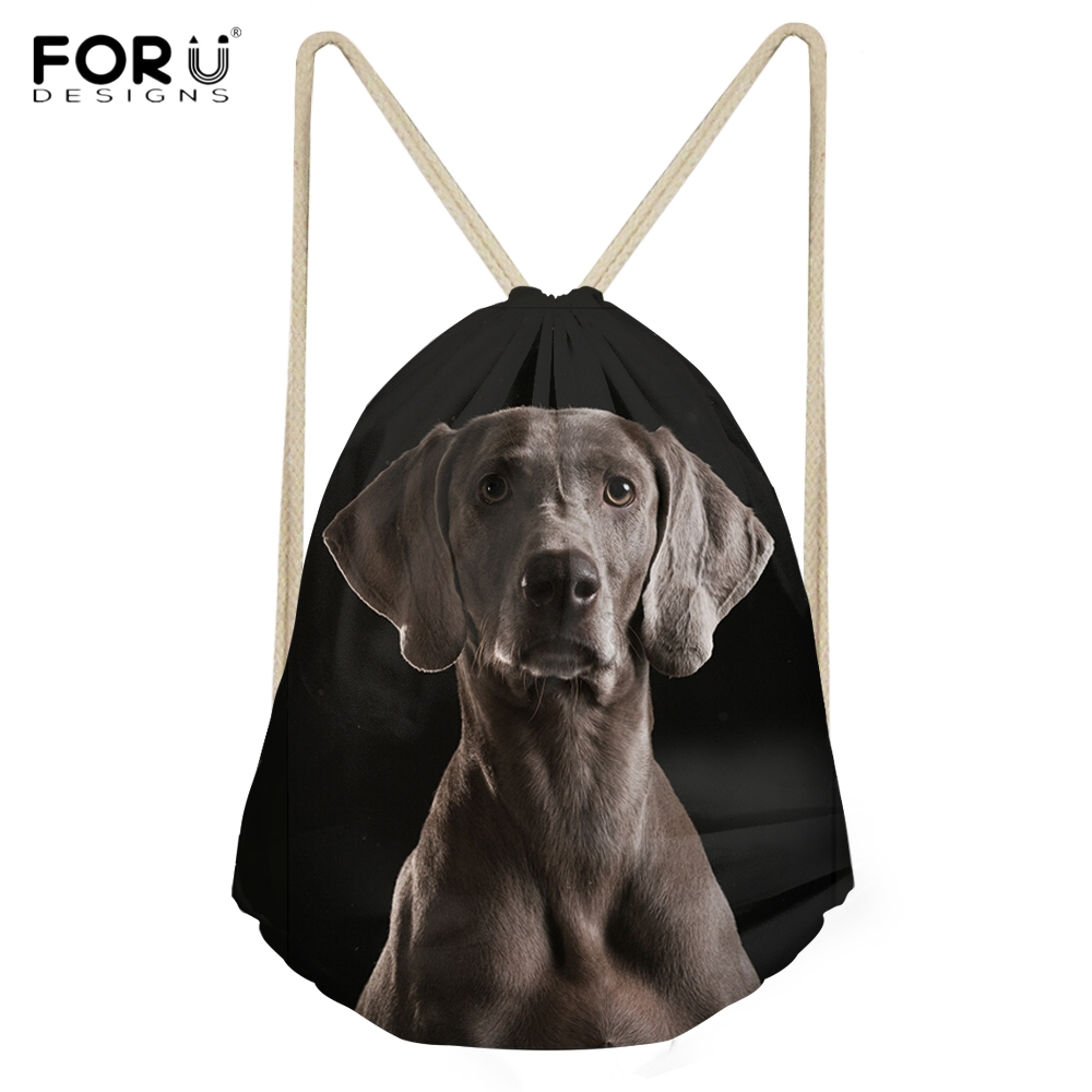 FORUDESIGNS Cute Puppy Weimaraner Printed Backpacks For Woman Man Casual Beach Travel Drawstrings Bags Students Storage Sack Bag