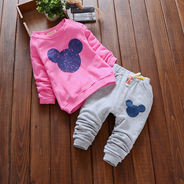 Bear Leader Baby Girl Clothes 2016 Autumn Baby Clothing Sets Cartoon Printing Sweatshirts+Casual Pants 2Pcs for Baby Clothes