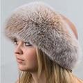 Genuine Fox Fur Hats Mujer de Piel de Mapache Tapa Feng Lei para chica Rusos Sombreros Bombardero de Cuero Superior Espesar Caliente del Invierno de Esquí Sombrero Gorro
