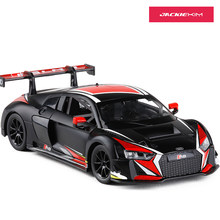 1:24 DIECAST METAL MODEL CAR TOYS AUDI R8 LMS SPORT CAR REPLICA SOUND LIGHTS KIDS TOYS FREE SHIPPING(China)