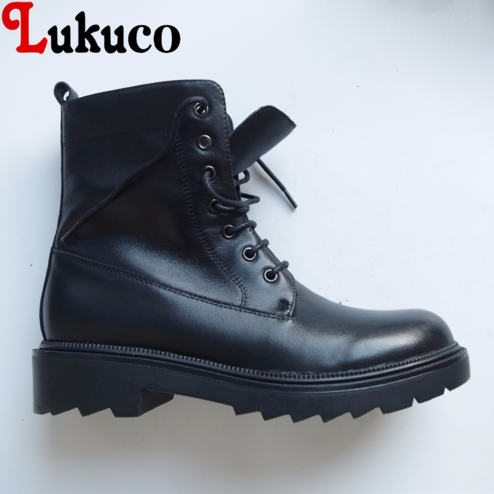 Lukuco pure color women mid-calf motorcycle boots microfiber made low hoof heel lace-up shoes with short plush inside stylish women s mid calf boots with solid color and fringe design