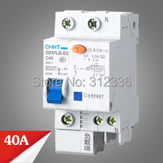 Free Shipping Two years Warranty DZ47LE-63 C40 1P+N 40A 1 pole ELCB RCD earth leakage circuit breaker residual current dz47 63 dz47le 32a 400vac 6000a 3 pole mini elcb earth leakage circuit breaker