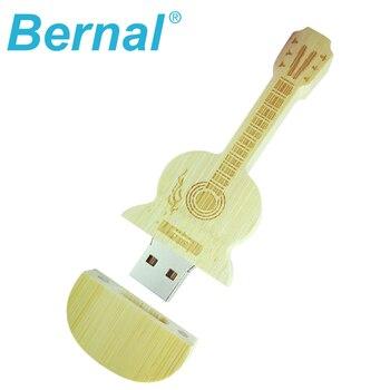 Hot usb flash drive pendrives 64GB wooden guitar pen drive 8GB 16GB 32GB MINI gift car key card usb memory stick thumb drive