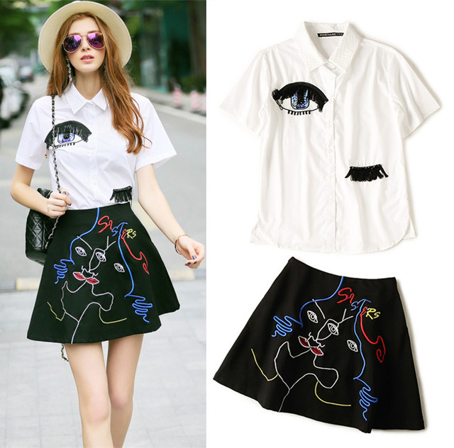 Women Sets Clothes Casual Women Black Tassel Sparkle Eye Shirt Blouse And Colorful Embroidery Skirt Twinsets Skirts Suits NS316