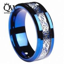 Queenwish 8mm bluetungsten anillo incrustaciones de fibra de carbono dragón de plata celta anillos de bodas de la eternidad para parejas joyería