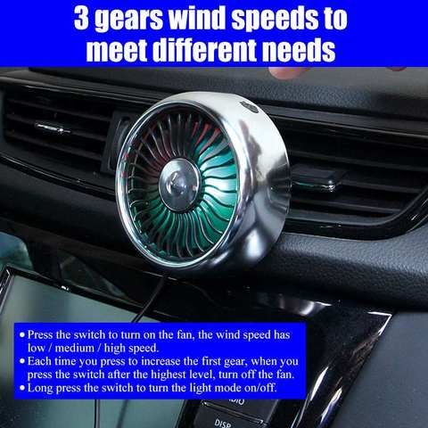 Air outlet /Base mode 360 Degree All-Round Adjustable Car Auto Air Cooling Fan 3 Gears Low Noise Car Auto Cooler Air Fan Islamabad